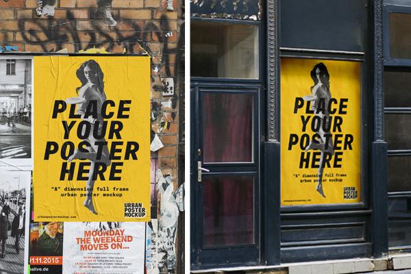 2 urban poster mockups psfiles