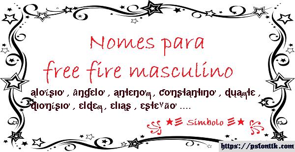 Nomes para free fire masculino