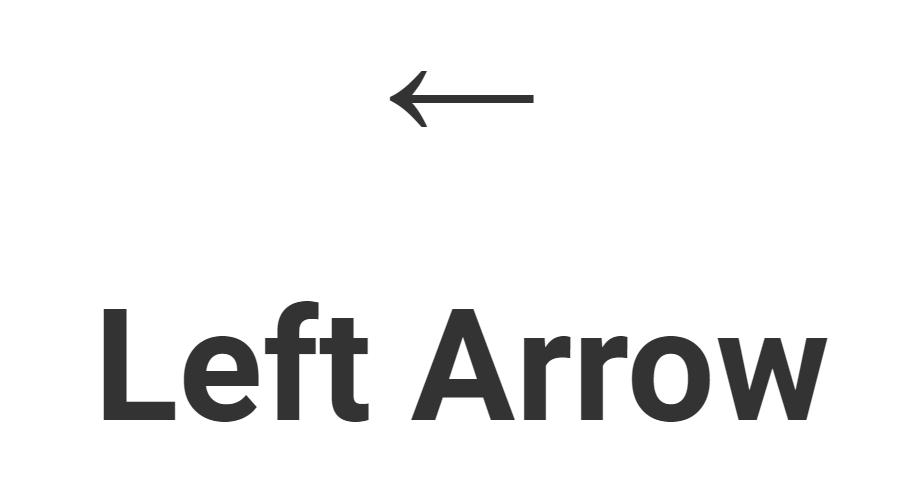 Left Arrow Unicode, HTML, CSS