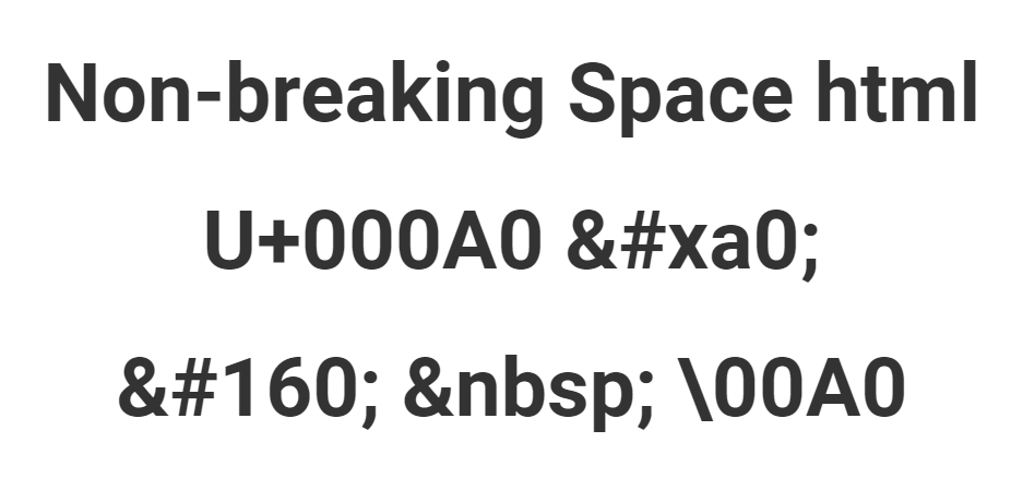 Non-breaking Space html
