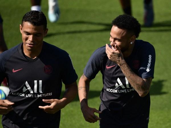 Neymar and Thiago Silva