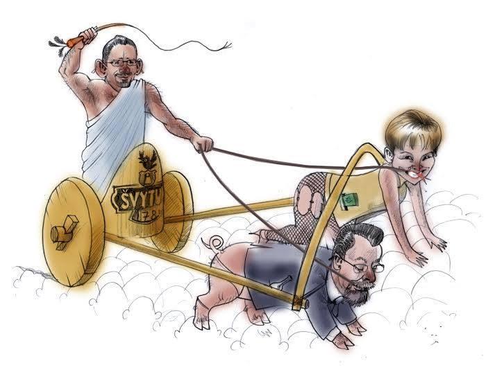 sveikuoliai.lt karikatūra. Aludarių gildijos prezidentas S. Galadauskas vavairuoja D. Mikutienę ir A. Matulą