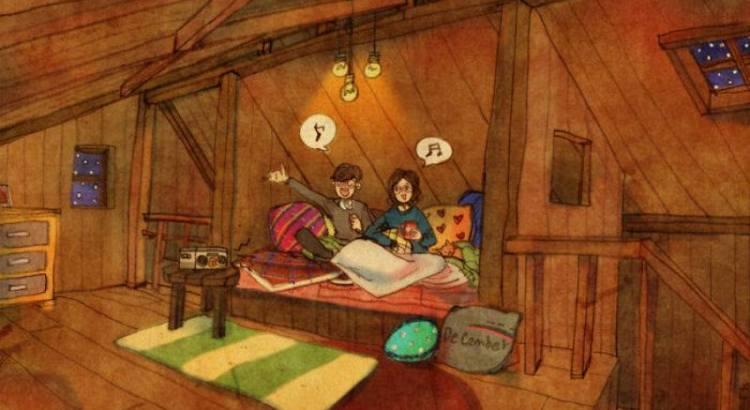 cena de amor casal sentado na cama e cantando juntos