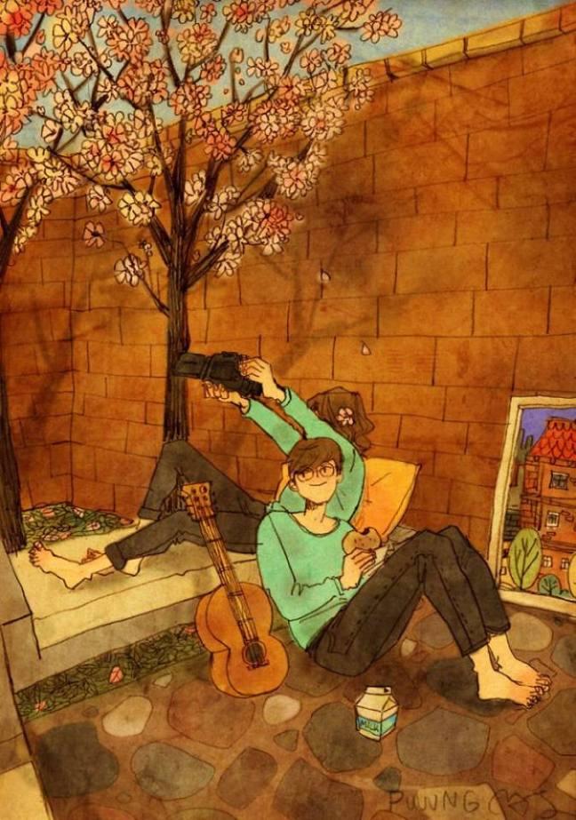 prova de amor casal sentado debaixo da árvore