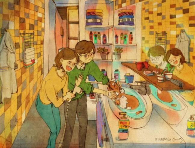 prova de amor casal dando banho no gato