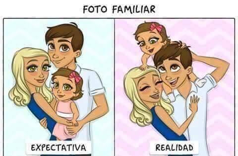 Expectativa e realidade da foto de familia