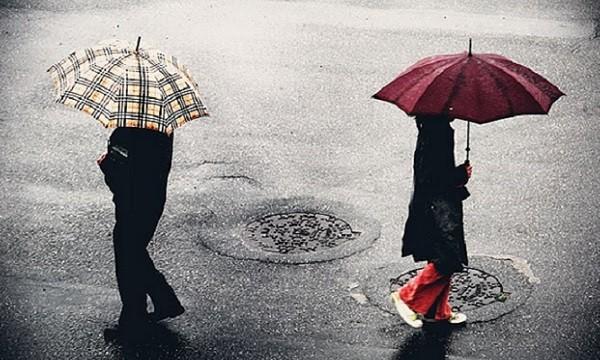 separação, divórcio, casal com guarda-chuva, casal se separando, casal andando na chuva