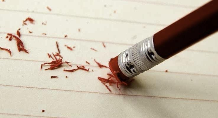 erros, errar, cometer erros, aprender com os erros, recome;car, acertar, apagar, borracha, lápis