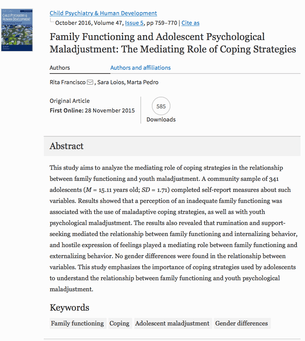 Family functioning and adolescent psychological maladjustment the mediating role of coping strategies