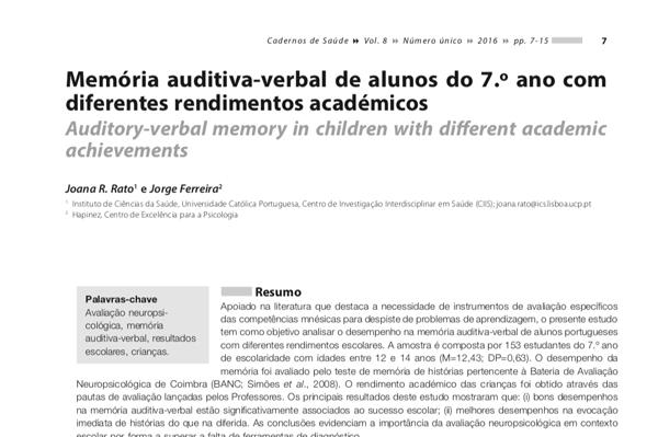 Memória auditiva-verbal de alunos