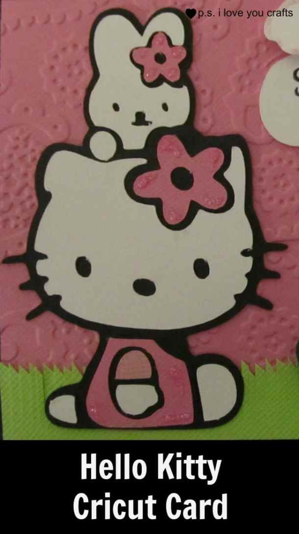 This spring card uses the Hello Kitty Cricut Cartridge. Hello Kitty, bunny, and the turtle make the sweetest card. The Hello Kitty Cricut Cartridge has so many great shapes for all of the major holidays.
