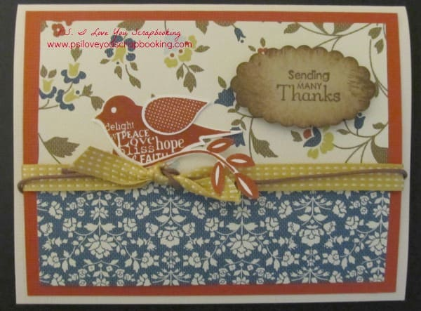 Stampin Up Bird Punch Card - This is a great fall thank you card using the Stampin Up Build A Bird Punch and Blissful Bird Stamp Set.