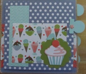 Paper Bag Mini Album Scrapbook Cupcake - The From My Kitchen Cricut Cartridge has everything you need to make recipe cards, cook books, and food related cards and scrapbook pages. There are desserts, meat, bread, vegetables, and measurements.