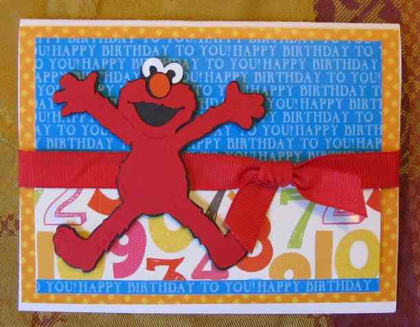 Elmo Birthday Card - The Sesame Street Friends Cricut Cartridge has Big Bird, Elmo, Cookie Monster, Oscar the Grouch, and all of the lovable Sesame Street Characters. This cartridge is great for preschool and kindergarten aged birthday cards, favors, decorations and scrapbook pages.
