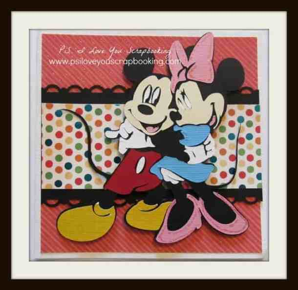 Handmade Card Using Minnie and Mickey Die Cuts from the Disney Mickey Mouse and Friends Cricut cartridge.