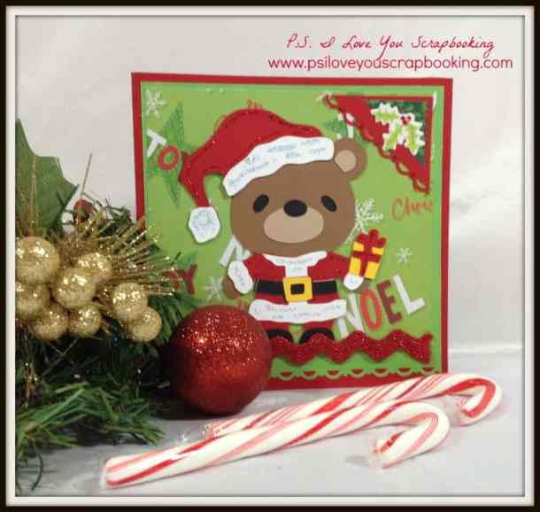 This sweet Teddy Bear Cricut Santa Christmas Card features a bear from the Teddy Bear Parade Cartridge.