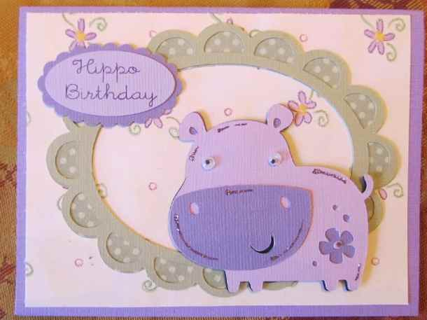 Hippo Birthday Cricut Card Using Create A Critter Cricut Cartridge