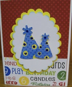 Cricut Birthday Card With Party Hats Using The Doodlecharms Cartridge