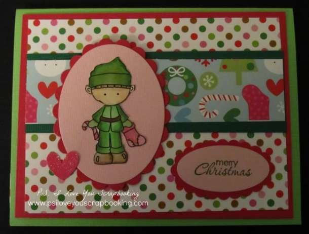 Handmade Elf Christmas Card - Here are lots of ideas for Handmade Christmas Cards. They can be easy and simple or they can be complex. Rubber stamps, Cricut die cuts, the Spellbinder, and punches are all great tools when creating Christmas Greeting Cards.