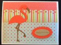 Life is a Beach Cricut Cartridge flamingo birthday card