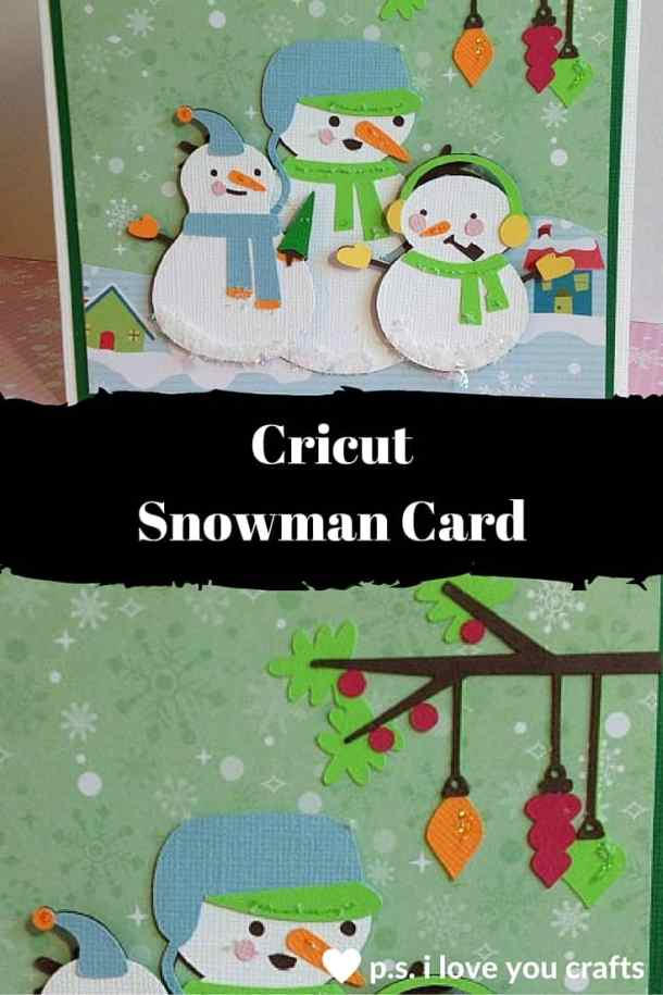 This Cricut Snowman Card uses the Cricut Explore or the Snow Folks Cricut Cartridge. I added fake snow and glitter to give it some shine.