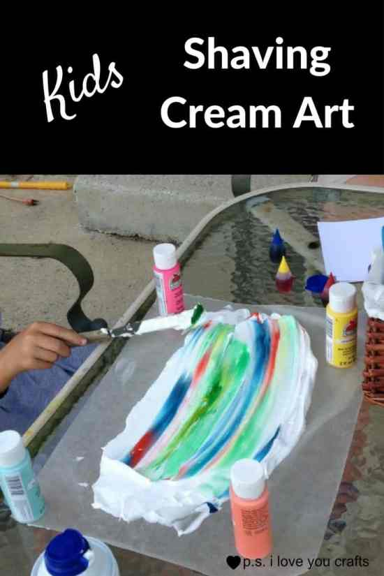 Shaving Cream, Food Color, plastic spoons, and a few other supplies will keep kids busy for quite awhile. This Shaving Cream Art Project for Kids is easy, and they will love it!