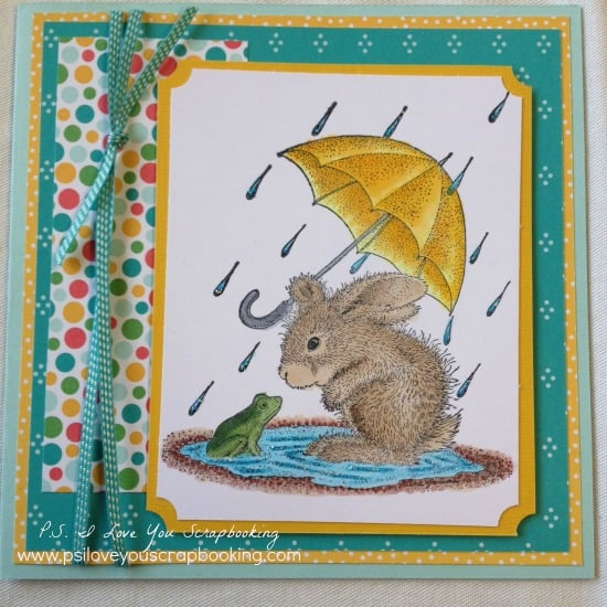 This sweet frog and bunny rabbit are enjoying the rainy day in a puddle. This Handmade Card using House Mouse Stamp could be for any occasion.