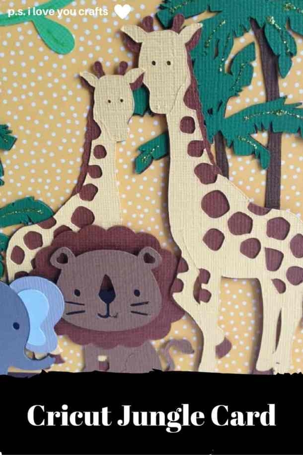 This Cricut Jungle Card using many different Cricut Cartridges, but if you have the Cricut Explore, the cut file is included in the post. With a cute lion, giraffes, elephant, and monkey, this card is perfect for a toddler's birthday or a baby shower for a new baby boy.