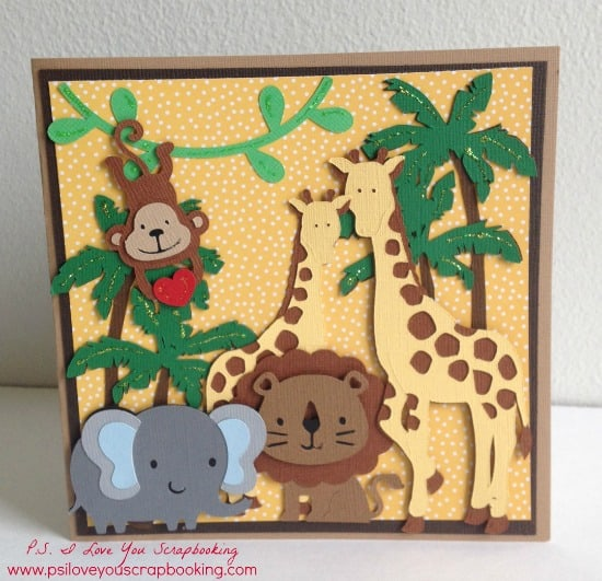 Jungle Cricut Card uses lots of different Cricut Cartridges. Visit the post to see the list and sizes. Cricut Explore cut file is also included in the post. I need to make this for my nephew!
