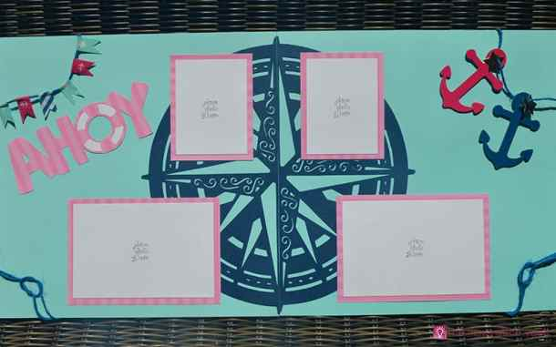 Nautical Cricut Scrapbook Layout Complete - Nautical Cricut Scrapbook Layout Craft Tutorial - Make this awesome Nautical Cricut Layout using the Edge to Edge and Create A Friend Cricut Cartridges. The washi tape flags were fun to make and a great addition to this page. You will be ready to scrapbook your sailing, fishing trip, or boating photos after creating this great scrapbook layout.