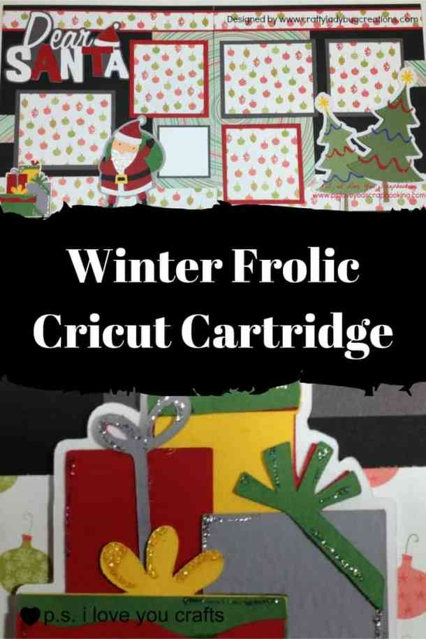 The Winter Frolic Cricut Cartridge has winter die cuts and Christmas die cuts with presents and Santa Claus. It's great for winter holidays and Christmas cards, decorations and scrapbook pages.