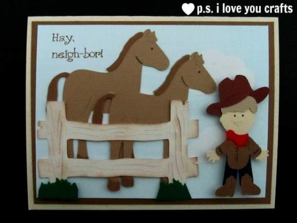 Animal Kingdom and Paper Doll Dress Up Cowboy and Horse Cricut Card