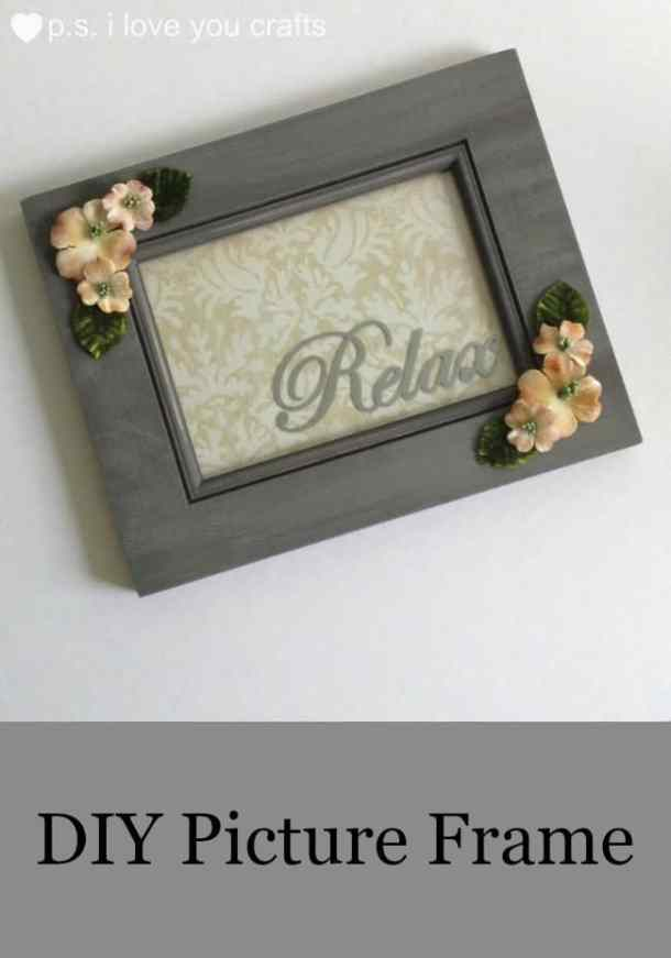 This DIY Picture Frame is a beautiful accent to a bathroom with a spa like feel. I used a picture frame from Goodwill, scrapbook paper, chalk paint, velour dogwood flowers and leaves, and a Relax decal that I made with adhesive vinyl and the Cricut Explore. This was an easy DIY project, and it turned great. #MegaPrepped #Ad