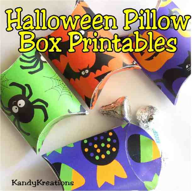 Halloween Pillow Box Printables by KandyKreations - These handmade Halloween Cards, Invitations, and Treat Bags use a variety of materials from buttons to the Cricut. With just a few supplies, you can create fun Halloween paper crafting projects too.