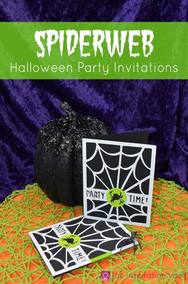 These handmade Halloween Cards, Invitations, and Treat Bags use a variety of materials from buttons to the Cricut. With just a few supplies, you can create fun Halloween paper crafting projects too. Spiderweb Halloween Party Invitations-Cricut-Craft-Tutorial-Handmade-Card