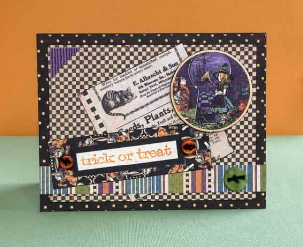 Handmade Halloween card Graphic 45 - These handmade Halloween Cards, Invitations, and Treat Bags use a variety of materials from buttons to the Cricut. With just a few supplies, you can create fun Halloween paper crafting projects too.