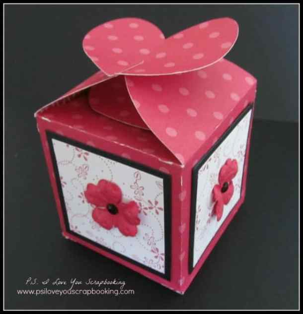 Heart favor box for a wedding, shower, or Valentine's Day - The Tag Bags Boxes and More Cricut Cartridge has boxes and gift bags perfect for party favors and gift cards. There are also tons of tags that you can use on cards, scrapbook pages, and to make bookmarks.