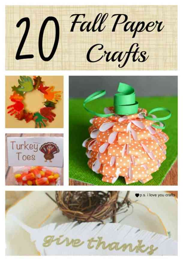 Here are 20 Fall Paper Crafts to enjoy with your friends and family. Fall Home Decor, Fall and Thanksgiving Handmade Cards, Fall Printables, Kids' Crafts leaves, pumpkins, feathers, and so much more!