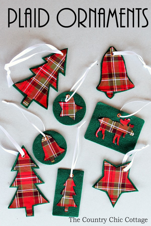 Plaid ornaments - Handmade Christmas Ornaments are so much to create during the holiday season. Here are 65+ Homemade Christmas Ornaments for Kids and Adults. They are broken down into felt ornaments, Christmas balls, country and rustic Christmas ornaments, and Christmas ornaments that kids can make.