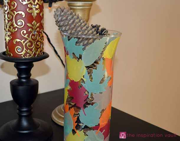 Vellum Fall Leaves Vase - Here are 20 Fall Paper Crafts to enjoy with your friends and family. Fall Home Decor, Fall and Thanksgiving Handmade Cards, Fall Printables, Kids' Crafts leaves, pumpkins, feathers, and so much more!