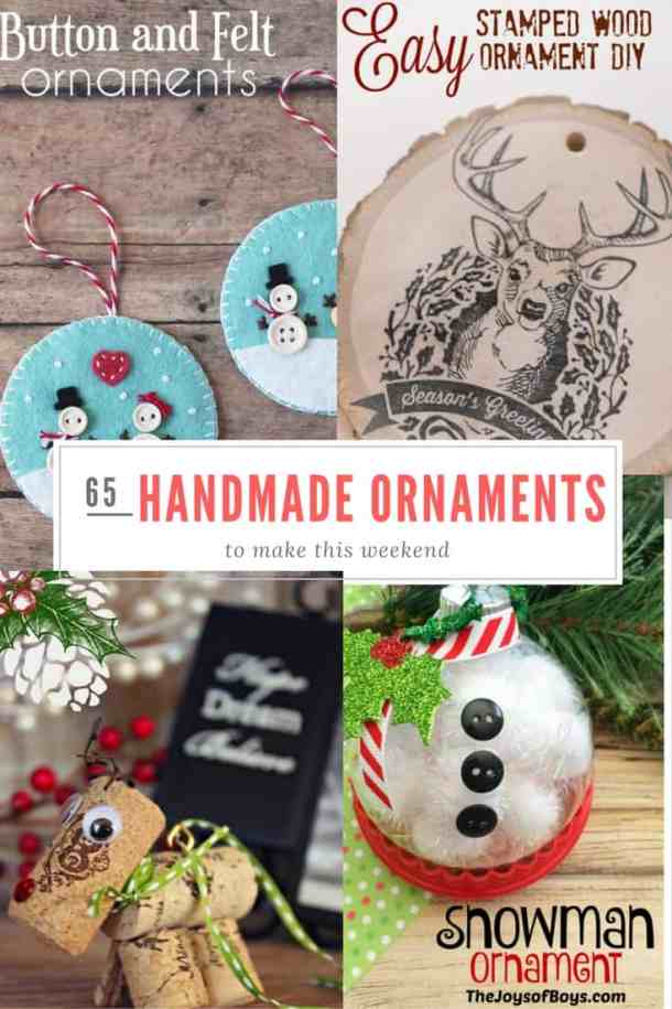 Handmade Christmas Ornaments are so much to create during the holiday season. Here are 65+ Homemade Christmas Ornaments for Kids and Adults. They are broken down into felt ornaments, Christmas balls, country and rustic Christmas ornaments, and Christmas ornaments that kids can make.