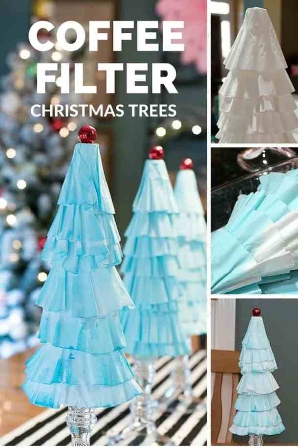 Coffee Filter Christmas Trees - Here are more than 30 Christmas Paper Crafts for you to try this season. There are handmade Christmas Cards, decorations, Christmas ornaments, Gift wrapping ideas, gift tags, and printable Christmas decor. So many great ideas!
