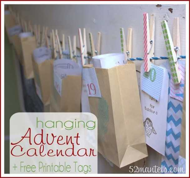 Advent Calendar with Printable Tags - Here are more than 30 Christmas Paper Crafts for you to try this season. There are handmade Christmas Cards, decorations, Christmas ornaments, Gift wrapping ideas, gift tags, and printable Christmas decor. So many great ideas!