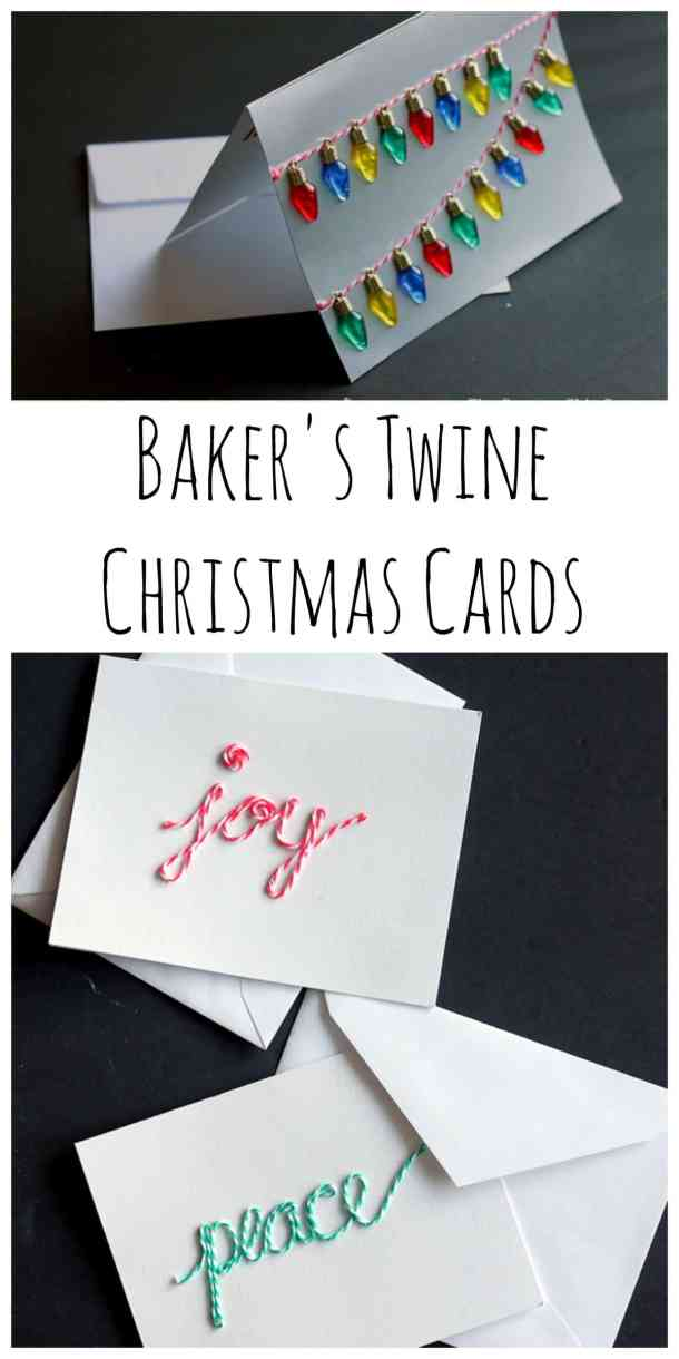 Baker's Twine Christmas Cards - Here are more than 30 Christmas Paper Crafts for you to try this season. There are handmade Christmas Cards, decorations, Christmas ornaments, Gift wrapping ideas, gift tags, and printable Christmas decor. So many great ideas!