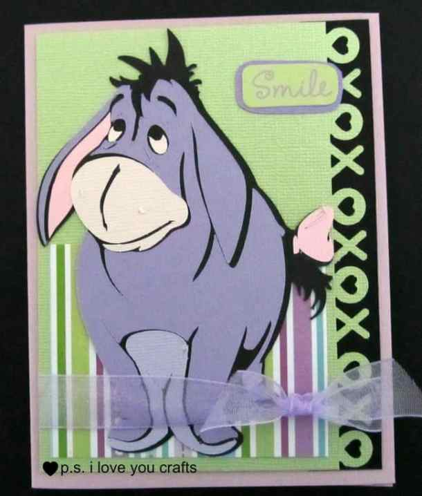 Eyeore Card - The Pooh and Friends Cricut Cartridge features Pooh Bear, Eeyore, Piglet, Tigger, Rabbit, and lots of great shapes from the Hundred Acre Wood. It's a great Cricut Cartridge for cards, scrapbook pages, and party decorations.