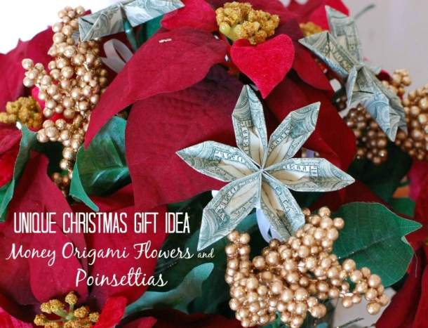 Origami Money Flowers - Here are more than 30 Christmas Paper Crafts for you to try this season. There are handmade Christmas Cards, decorations, Christmas ornaments, Gift wrapping ideas, gift tags, and printable Christmas decor. So many great ideas!