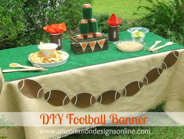 DIY Football Banner - DIY Pennant Banners can be made for any holiday or occasion. They look great hanging on a mantel as part of your home decor or on the wall for a party decoration. They are easy to make to fit any theme or budget. They are particular popular for birthday parties, and bridal showers,