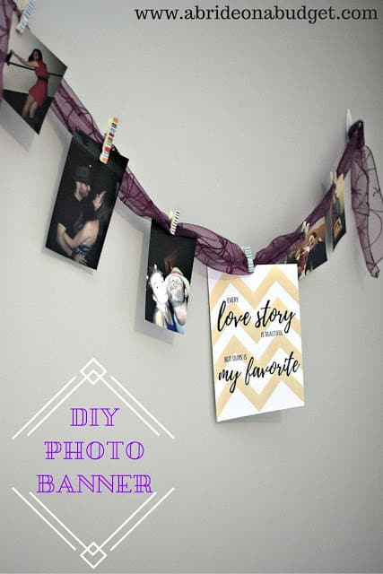 DIY Photo Banner - DIY Pennant Banners can be made for any holiday or occasion. They look great hanging on a mantel as part of your home decor or on the wall for a party decoration. They are easy to make to fit any theme or budget. They are particular popular for birthday parties, and bridal showers,