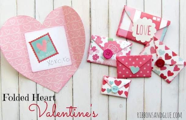 Folded Heart Valentines - Valentine's Day Paper Crafts are fun and easy. If you're a card maker or scrapbooker, you probably have all the supplies you need to get started with these paper crafting projects. There are clever handmade cards with secret messages, Valentine's Day Games for the kids, and home decor. I need to try some of these!