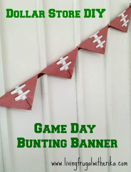 Dollar Store Football Banner - DIY Pennant Banners can be made for any holiday or occasion. They look great hanging on a mantel as part of your home decor or on the wall for a party decoration. They are easy to make to fit any theme or budget. They are particular popular for birthday parties, and bridal showers,